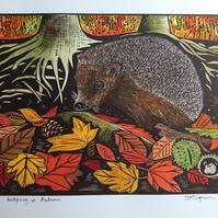 Limited edition handmade Linocut print. Hedgehog in Autumn.