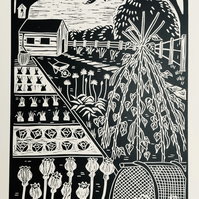 Limited edition handmade Linocut Print. Poppies on the Allotment
