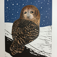 Limited edition handmade Linocut Print.Owl in Winter.
