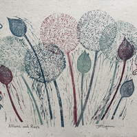 Unique handmade Linocut Print. Alliums and Bees