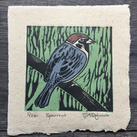 Limited edition handmade Linocut Mini-print. Sparrow