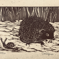 Limited edition Linocut print on handmade paper. Hedgehog.