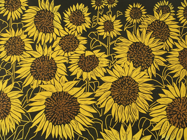 FREE UK POSTAGE.A field of Sunflowers. Limited edition Linocut. Number 1 of 50.