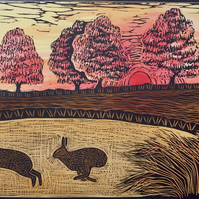 FREE UK POSTAGE. Limited edition handmade Linocut Print. Two Hares at Sunset.