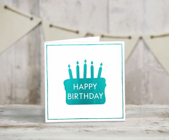 Remarkable Handmade Happy Birthday Cake Card In Teal Foil Folksy Funny Birthday Cards Online Fluifree Goldxyz