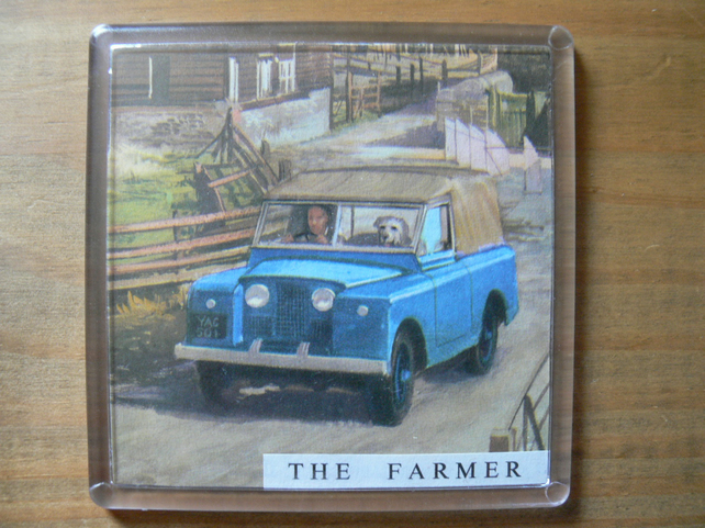 A Coaster Made With A Vintage Ladybird Book Image. The Farmer.