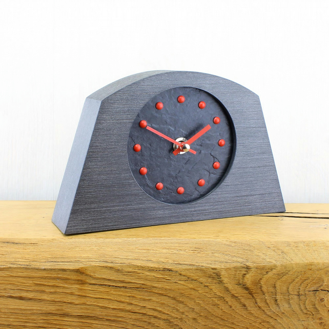 Stylish Arched Mantel Clock with Black Face - RED Studs and Hands.