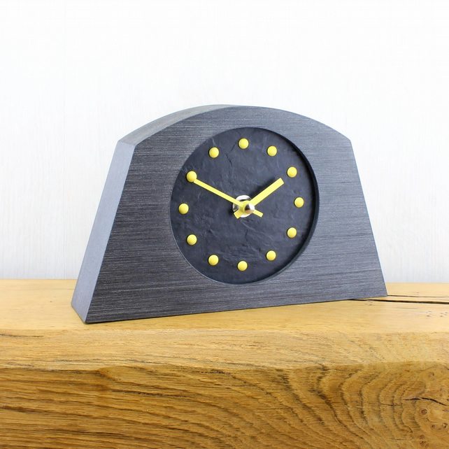 Stylish Arched Mantel Clock with Black Face - YELLOW Studs and Hands.