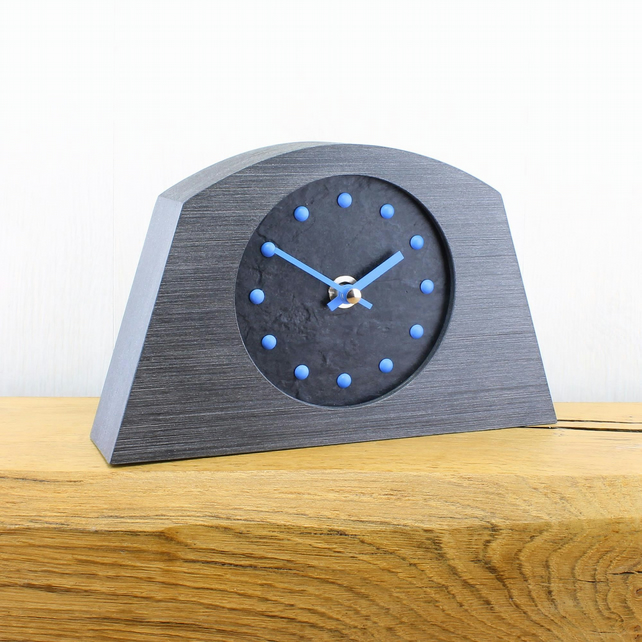 Stylish Arched Mantel Clock with Black Face - BLUE Studs and Hands.