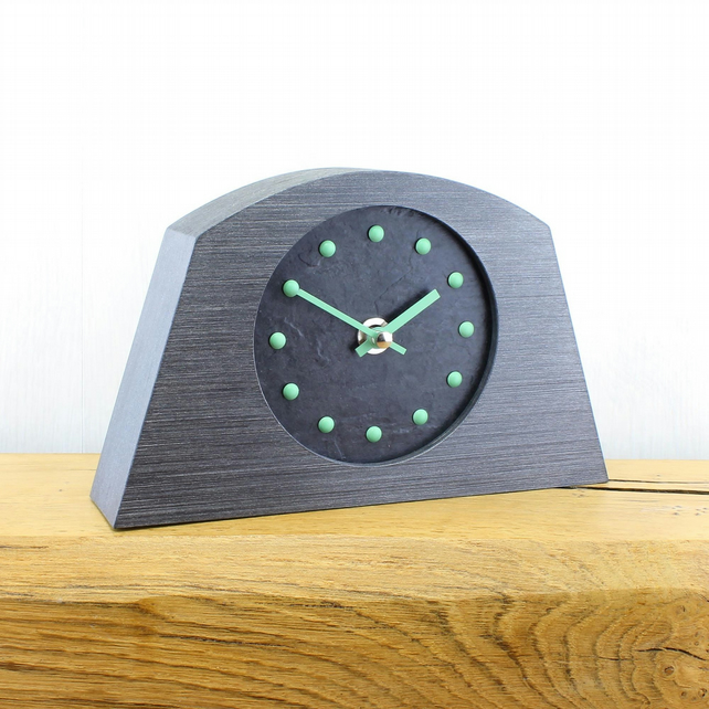Stylish Arched Mantel Clock with Black Face - GREEN Studs and Hands.