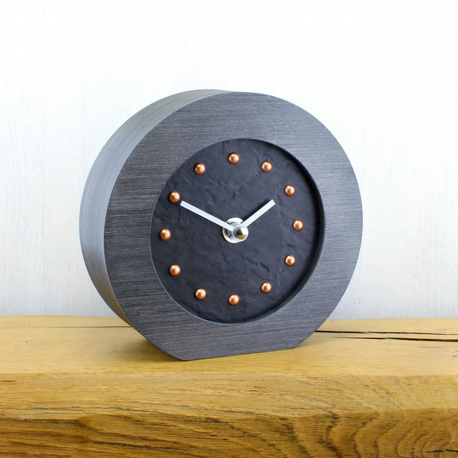 Round Mantel Clock with Black Face - COPPER Studs - SILVER Hands