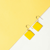Golden Yellow Enamel Earrings