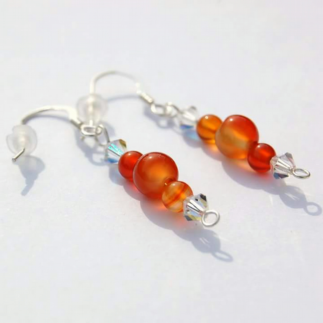 Sterling Silver 925 Earrings with Agate and Crystals