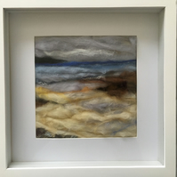 Stitched wool seascape picture