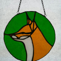 Stained Glass Fox Sillhouette