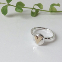 Silver ring with 9ct gold heart