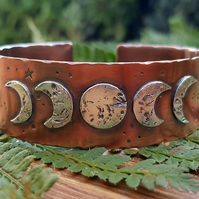 Sterling Silver and Copper Cuff Bangle Bracelet