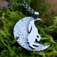 Sterling Silver Standing moongazing hare (ears down)