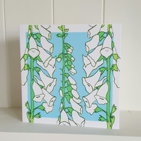 Foxglove hand screen printed card