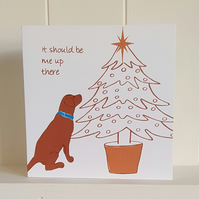 Labrador and Christmas Tree Screen Printed Christmas Card