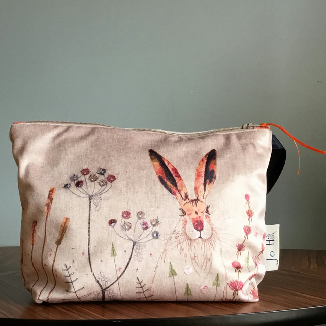 March Hare Zipped Cosmetic Bag