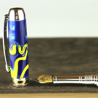 Handmade Royal Blue and Yellow Swirl Kirinite Bodied Mistral Fountain Pen