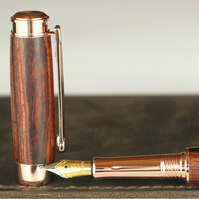 Handmade Engravable Cocobolo Leveche Fountain Pen - Rose Gold Body