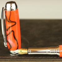 Engravable - Handmade - Toxic orange fountain pen - Beaufort 23k Gold plated Nib