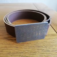 hand made damascus pattern steel buckle and leather belt