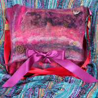 Steampunk felted bag - ribbon strap and cogs galore!