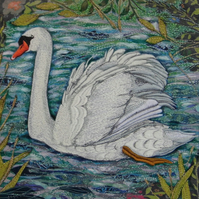'White Swan'  Original Embroidery Collage
