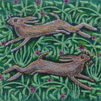 'Spring Hares' Original Embroidery Collage