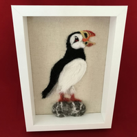 Needlefelted Puffin on a Rock