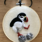Needlefelted Jumping Puffin