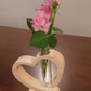 Solid Ash Wood and Glass Heart vase