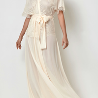 Millesime Full Length Lace Dressing Gown Loungewear Long Robe with Lace