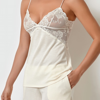 Millesime Lace Lounge TOP Lounge Top with Adjustable Straps, Home wear