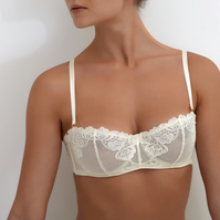 Millesime Sheer Lace Bra BeigeTransparent Bralette, See-Through Everyday Bra