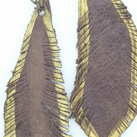 Leather Feather handcut statement earrings, drop earrings, upcycled earrings