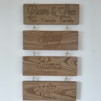 Wooden Hanging sign personalised
