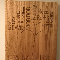 Engraved Family Tree personalised