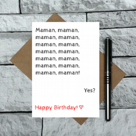 Maman birthday card - French mum card - funny birthday card - toddler maman card