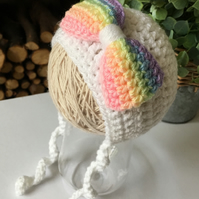 Crochet Baby Bonnet,  White Baby Hat with Rainbow Bow, Size 3-6 Months