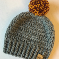 Crochet Single Pompom Beanie Hat