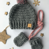 Crochet Single Pompom Beanie Hat & mitten set, Pink & grey