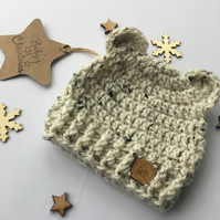 Crochet Bear Beanie Hat & Matching Mittens, Natural, cream, tweed