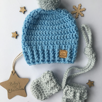 Crochet Single Pompom Beanie Hat & mitten set, Blue & grey