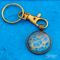 Azure Gold Fluid Art Keyring