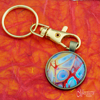 Blue Bubble Fluid Art Keyring