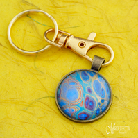 Blues Fluid Art Keyring